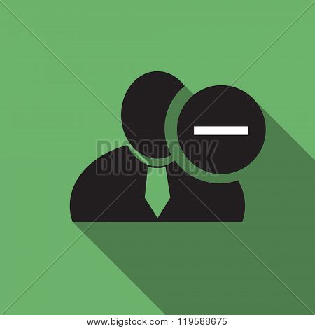 Minus Sign Black Man Silhouette Icon On The Green Vintage Background, Long Shadow Flat Design Icon F