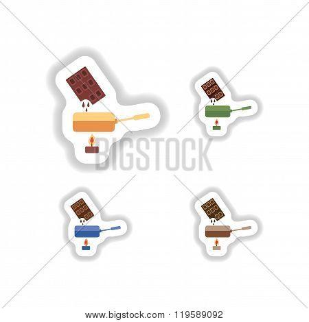 Set stylish paper stickers chocolate fondue on candle