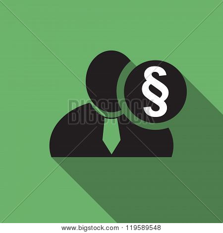 Section Or Paragraph Sign Black Man Silhouette Icon On The Green Vintage Background, Long Shadow Fla