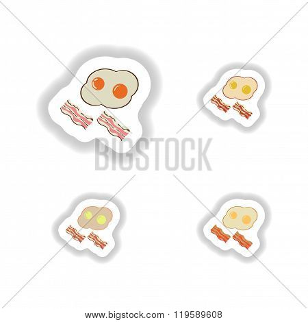 Set of paper stickers fried eggs with bacon