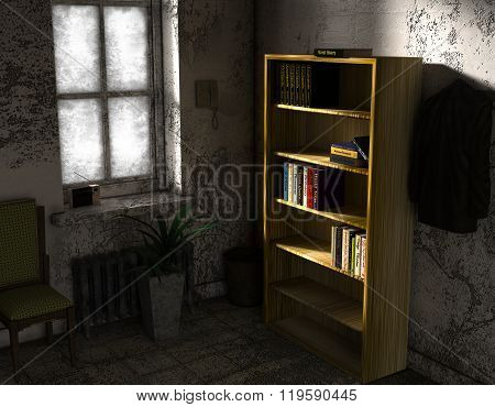 A small room in poor condition with some furniture