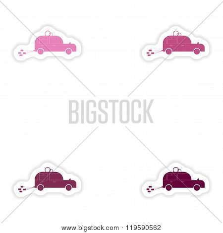Set of paper stickers on white background bridegroom car