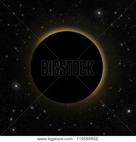 Solar eclipse with sun glow