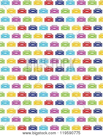 Colourful vector boom box pattern and wall paper