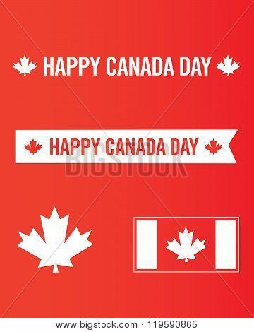 Vector Happy Canada Day Icon and Symbol Set