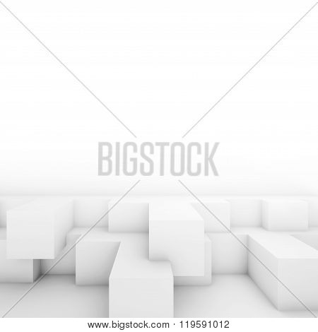 Cubic Structures. White Architecture Background, 3D