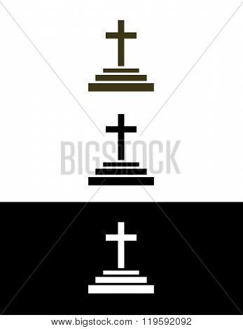 Vector Cross Symbol in Color, Black and Reverse