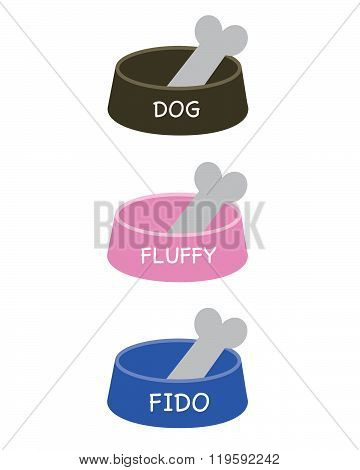 Cute Vector Dog Bowl Set