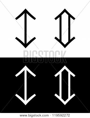 Vector Double Ended Arrow Set in Black and Reverse