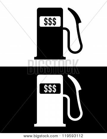 Vector Gas Pump with Dollar Signs in Black and Reverse