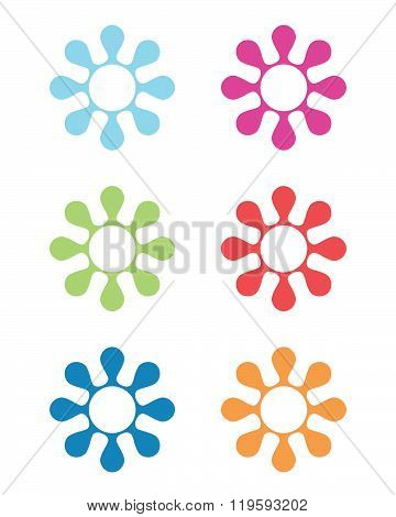 Colourful Vector Groovy Flower Symbol and Icon Set