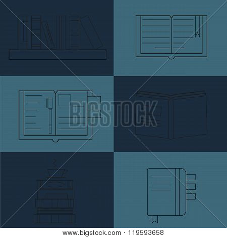 Books Reading set Vector illustration book icons elements Vector symbols of reading and learning Book club illustration Back to school Education University College symbols flat design style