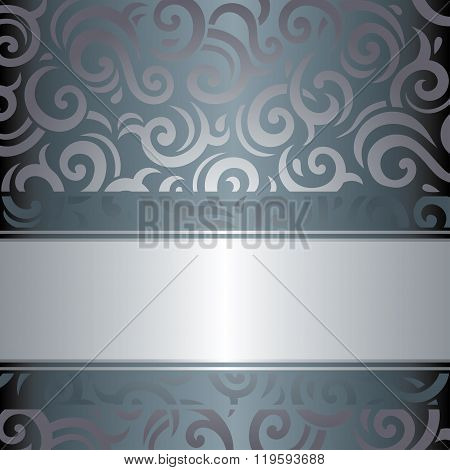 Silver luxury vintage invitation retro design vector