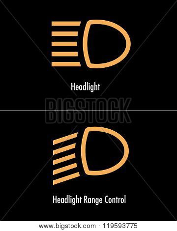 Vector Headlight Icon Set