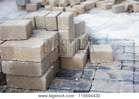 Stack Of Paving Stone. Ready For Construction