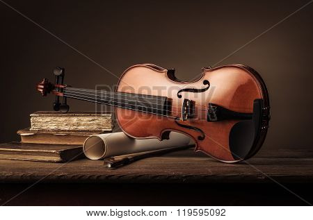Old Violin Still Life With Books