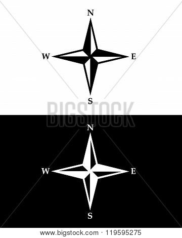 Vector Compass Symbol Set in Black and Reverse