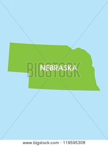 Vector Map of Nebraska USA