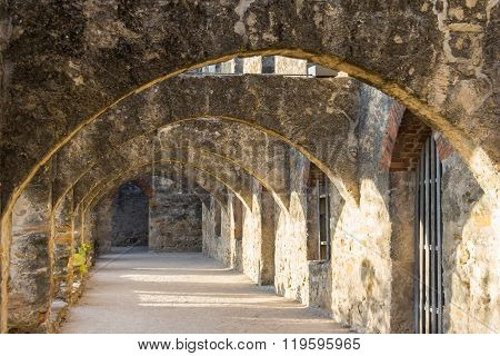 Ruins Of Convento And Arches Of Mission San Jose In San Antonio,  Texas