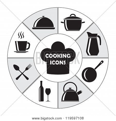 Kitchen and cooking icons set: pans, wine bottle and glass, spoon, fork, knife, kettle, cup. Vector