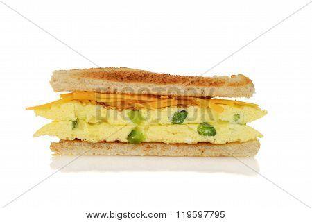 closeup toasted western sandwich