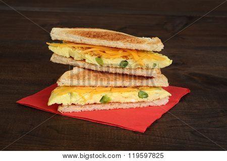 sliced omelette sandwich