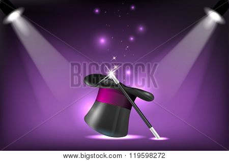 Magicians Hat And Wand On Stage Lighting Reflectors
