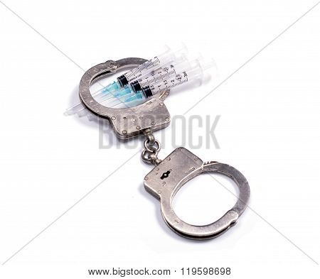 Steel Police Handcuffs And Syringes For Pricks