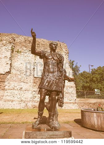 Retro Looking Trajan Statue In London