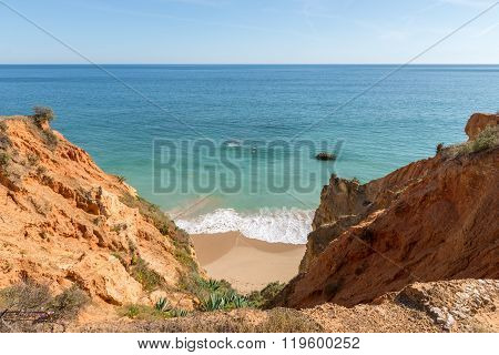 Rock And Dona Ana Beach In Portimao, Algarve, Portugal