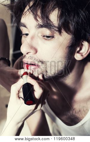 Man With Red Lipstick