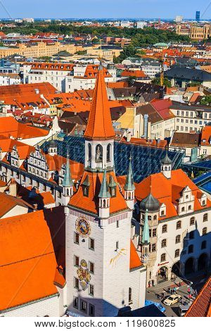 Old Town Hall And Red Roofs In Munich, Germany