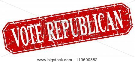 vote republican red square vintage grunge isolated sign