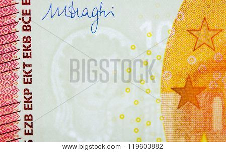Ten Euro Paper Currency Signature And Watermark