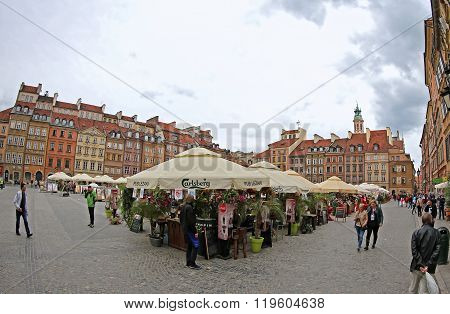 Old Town Market Place In Warsaw, Poland