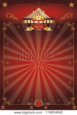 A beautiful circus poster with sunbeams for your entertainment