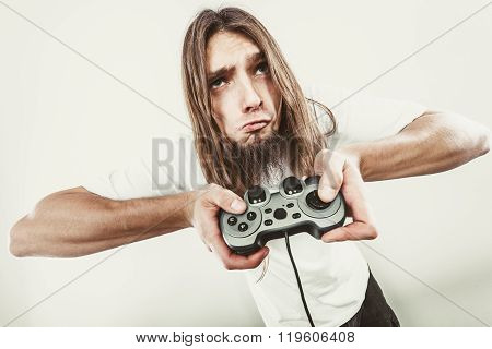Male Player Focus On Play Games