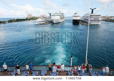 Cruise ships at port in Nassau in the Bahamas