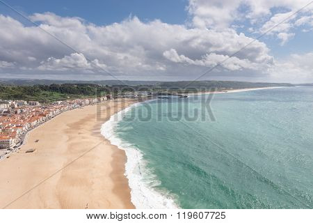 Top View Of Beach In Nazare, A Surfing Paradise, Portugal