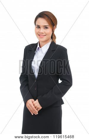 Asian Business Woman Smiling Isolated On White Background