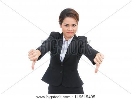 Asian Business Woman With Thumbs Down Isolated On White Background