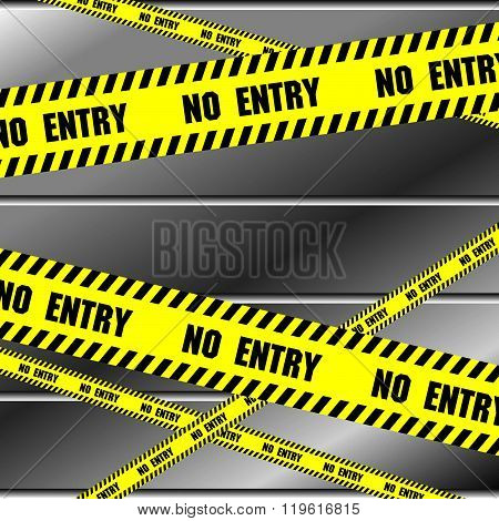 No entry sing with aluminium metal background. Vector metal abstract background.