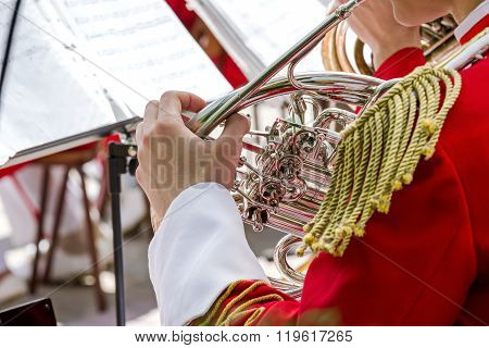 Musician Playing French Horn In Street Orchestra