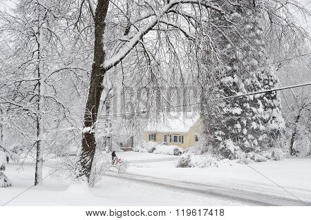 residential area after heavy snow storm