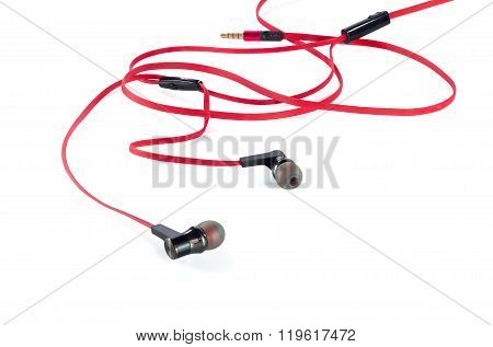 Old Red Earphones Isolated