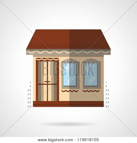 Store building flat color design vector icon