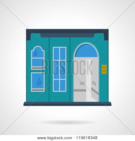 Blue storefront wall flat color design vector icon