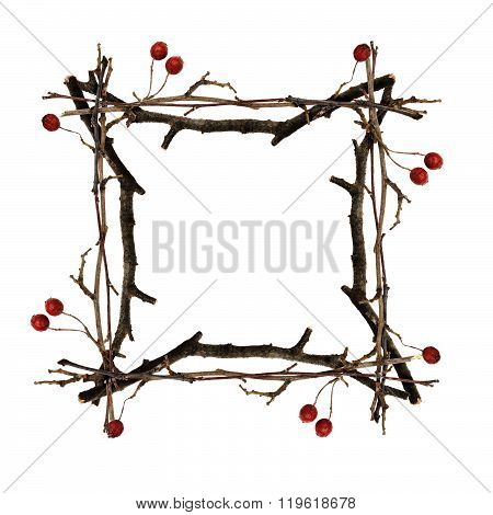 Frame made from dry twigs isolated on white