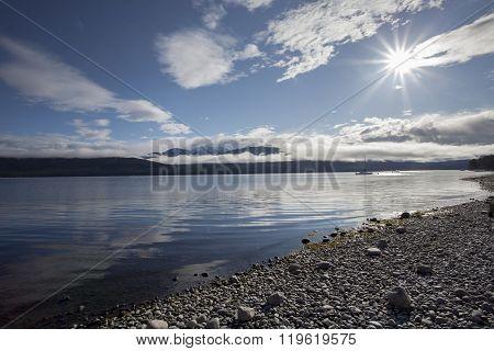 Sun Light Over Lake Te Anau Fiordland National Park New Zealand