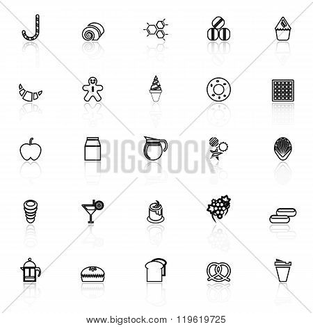 Sweet Food Line Icons With Reflect On White Background